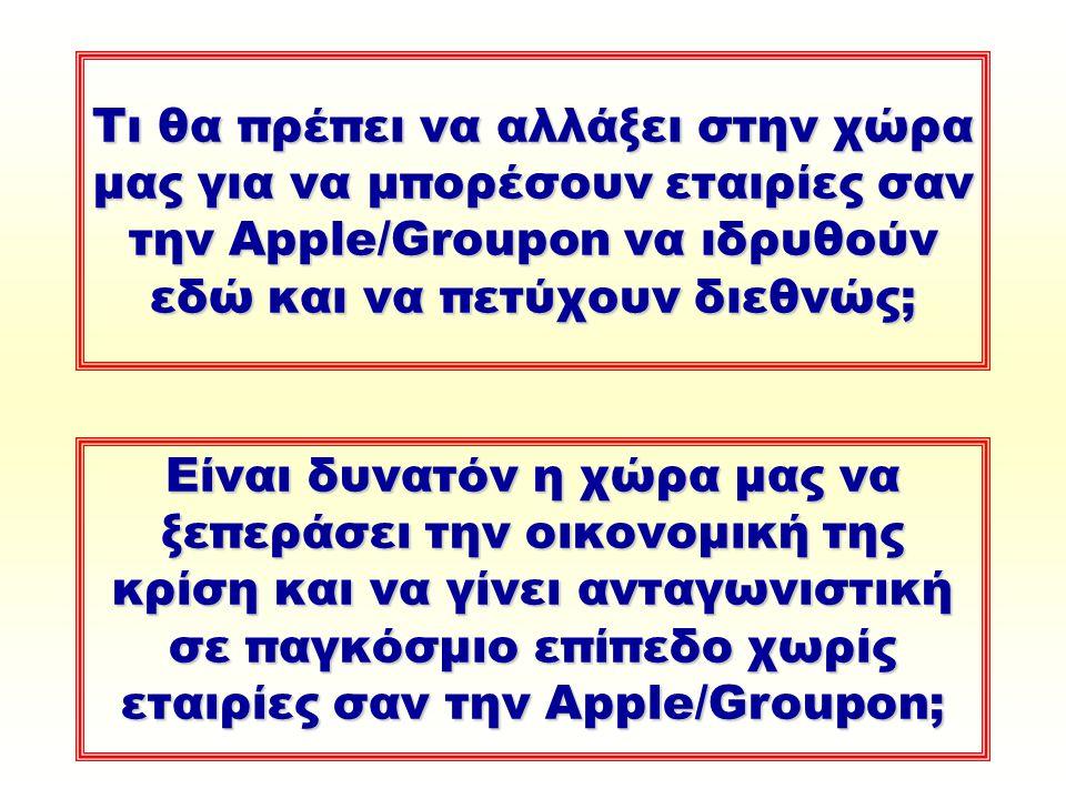 Τι θα πρέπει να αλλάξει στην χώρα μας για να μπορέσουν εταιρίες σαν την Apple/Groupon να ιδρυθούν εδώ και να πετύχουν διεθνώς; Είναι δυνατόν η χώρα μας να ξεπεράσει την οικονομική της κρίση και να γίνει ανταγωνιστική σε παγκόσμιο επίπεδο χωρίς εταιρίες σαν την Apple/Groupon;