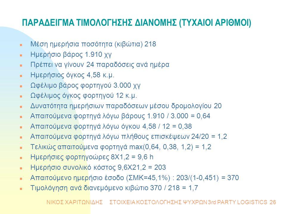 ΝΙΚΟΣ ΧΑΡΙΤΩΝΙΔΗΣ ΣΤΟΙΧΕΙΑ ΚΟΣΤΟΛΟΓΗΣΗΣ ΨΥΧΡΩΝ 3rd PARTY LOGISTICS26 ΠΑΡΑΔΕΙΓΜΑ ΤΙΜΟΛΟΓΗΣΗΣ ΔΙΑΝΟΜΗΣ (ΤΥΧΑΙΟΙ ΑΡΙΘΜΟΙ) n Μέση ημερήσια ποσότητα (κιβώτ