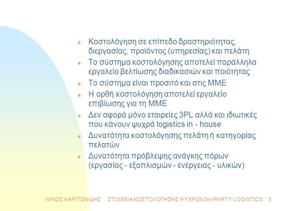 ΝΙΚΟΣ ΧΑΡΙΤΩΝΙΔΗΣ ΣΤΟΙΧΕΙΑ ΚΟΣΤΟΛΟΓΗΣΗΣ ΨΥΧΡΩΝ 3rd PARTY LOGISTICS3 n Κοστολόγηση σε επίπεδο δραστηριότητας, διεργασίας, προϊόντος (υπηρεσίας) και πελ