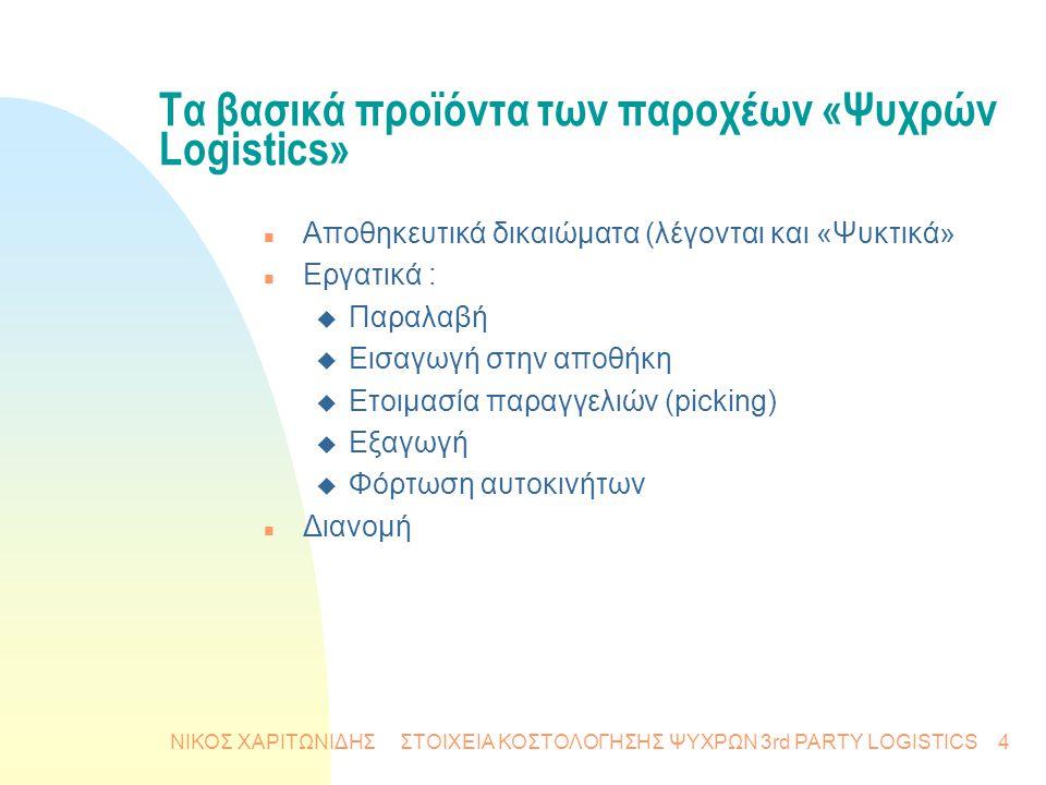 ΝΙΚΟΣ ΧΑΡΙΤΩΝΙΔΗΣ ΣΤΟΙΧΕΙΑ ΚΟΣΤΟΛΟΓΗΣΗΣ ΨΥΧΡΩΝ 3rd PARTY LOGISTICS4 Τα βασικά προϊόντα των παροχέων «Ψυχρών Logistics» n Αποθηκευτικά δικαιώματα (λέγο