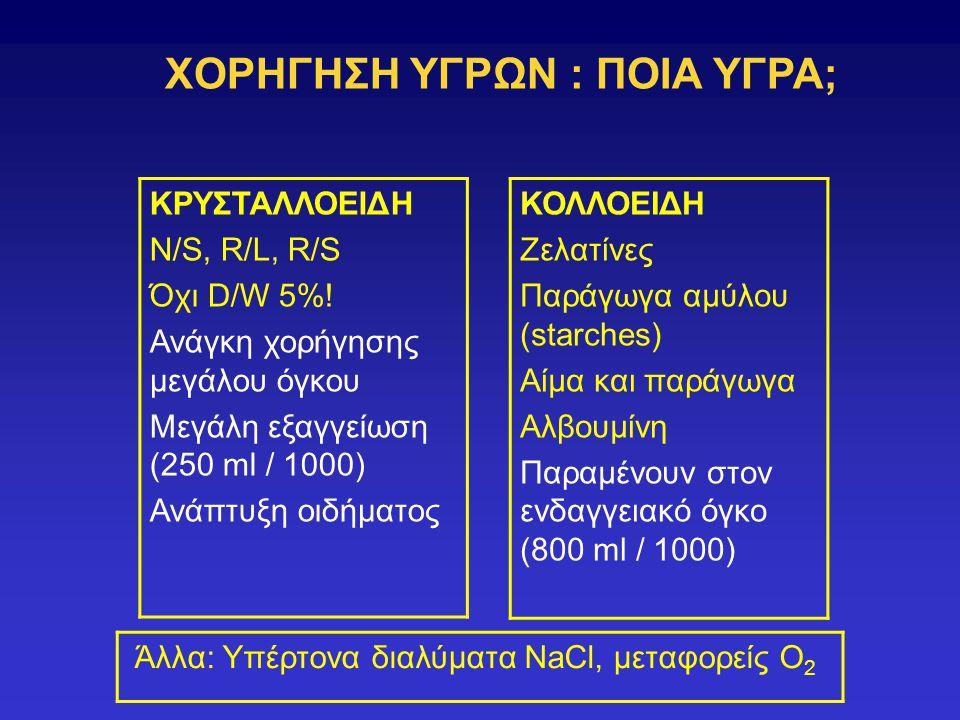 ΧΟΡΗΓΗΣΗ ΥΓΡΩΝ : ΠΟΙΑ ΥΓΡΑ; ΚΡΥΣΤΑΛΛΟΕΙΔΗ Ν/S, R/L, R/S Όχι D/W 5%! Ανάγκη χορήγησης μεγάλου όγκου Μεγάλη εξαγγείωση (250 ml / 1000) Ανάπτυξη οιδήματο