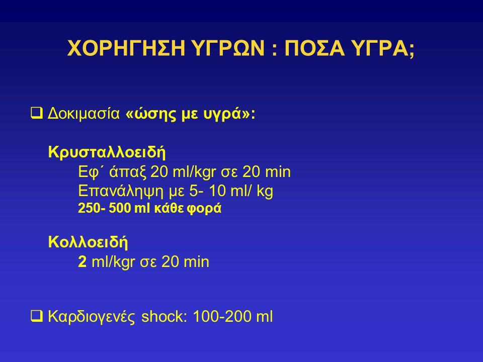 ΧΟΡΗΓΗΣΗ ΥΓΡΩΝ : ΠΟΣΑ ΥΓΡΑ;  Δοκιμασία «ώσης με υγρά»: Κρυσταλλοειδή Εφ΄ άπαξ 20 ml/kgr σε 20 min Επανάληψη με 5- 10 ml/ kg 250- 500 ml κάθε φορά Κολλοειδή 2 ml/kgr σε 20 min  Καρδιογενές shock: 100-200 ml