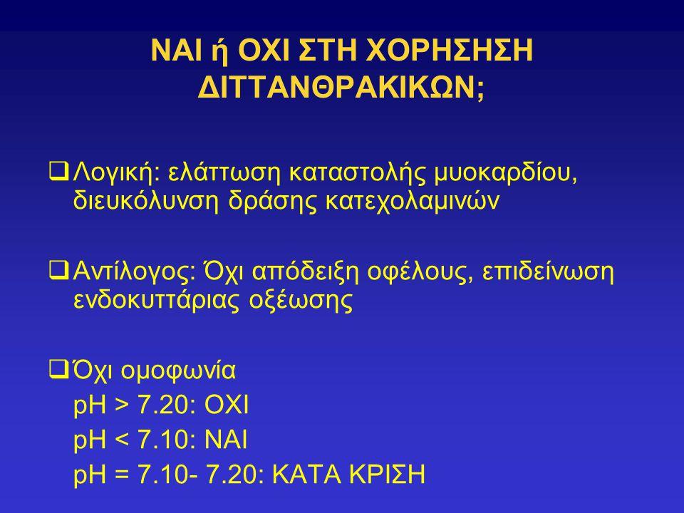 NAI ή OΧΙ ΣΤΗ ΧΟΡΗΣΗΣΗ ΔΙΤΤΑΝΘΡΑΚΙΚΩΝ;  Λογική: ελάττωση καταστολής μυοκαρδίου, διευκόλυνση δράσης κατεχολαμινών  Αντίλογος: Όχι απόδειξη οφέλους, επιδείνωση ενδοκυττάριας οξέωσης  Όχι ομοφωνία pH > 7.20: ΟΧΙ pH < 7.10: ΝΑΙ pH = 7.10- 7.20: ΚΑΤΑ ΚΡΙΣΗ