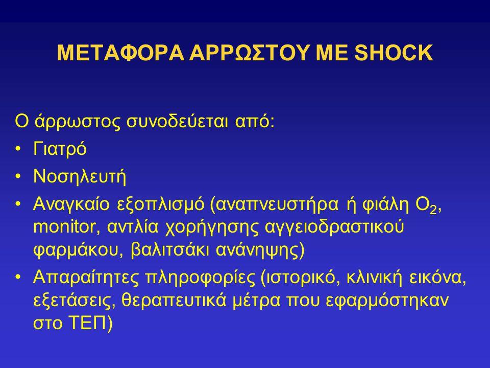 ΜΕΤΑΦΟΡΑ ΑΡΡΩΣΤΟΥ ΜΕ SHOCK Ο άρρωστος συνοδεύεται από: Γιατρό Νοσηλευτή Αναγκαίο εξοπλισμό (αναπνευστήρα ή φιάλη Ο 2, monitor, αντλία χορήγησης αγγειοδραστικού φαρμάκου, βαλιτσάκι ανάνηψης) Απαραίτητες πληροφορίες (ιστορικό, κλινική εικόνα, εξετάσεις, θεραπευτικά μέτρα που εφαρμόστηκαν στο ΤΕΠ)