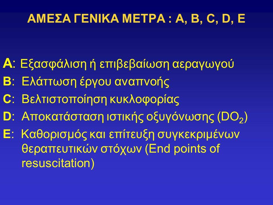ΑΜΕΣΑ ΓΕΝΙΚΑ ΜΕΤΡΑ : A, B, C, D, E A: Εξασφάλιση ή επιβεβαίωση αεραγωγού B: Ελάττωση έργου αναπνοής C: Βελτιστοποίηση κυκλοφορίας D: Αποκατάσταση ιστικής οξυγόνωσης (DO 2 ) E: Καθορισμός και επίτευξη συγκεκριμένων θεραπευτικών στόχων (End points of resuscitation)