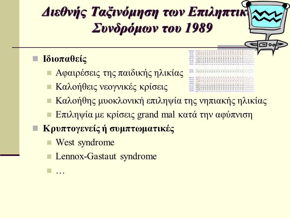 Διεθνής Ταξινόμηση των Επιληπτικών Συνδρόμων του 1989 Ιδιοπαθείς Αφαιρέσεις της παιδικής ηλικίας Καλοήθεις νεογνικές κρίσεις Καλοήθης μυοκλονική επιλη