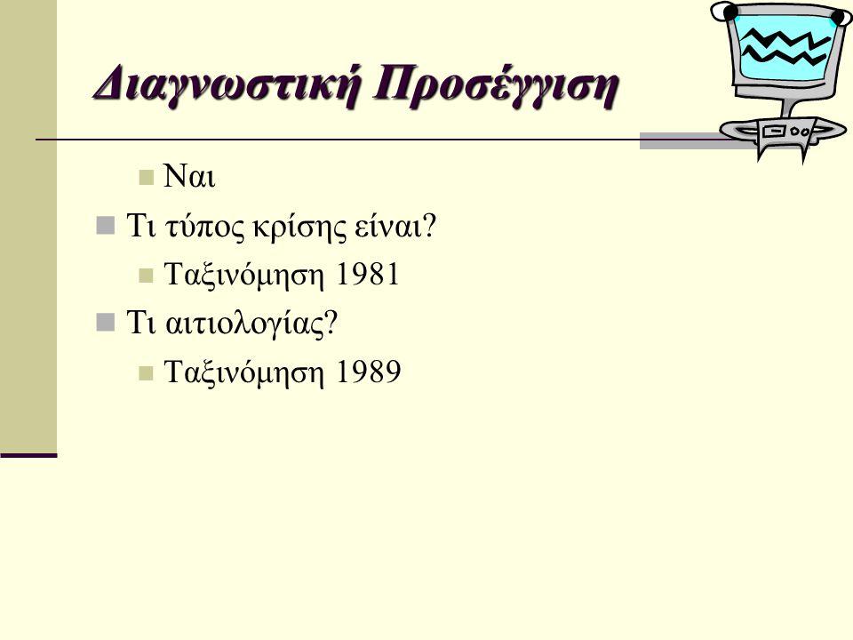 Ναι Τι τύπος κρίσης είναι? Ταξινόμηση 1981 Τι αιτιολογίας? Ταξινόμηση 1989 Διαγνωστική Προσέγγιση