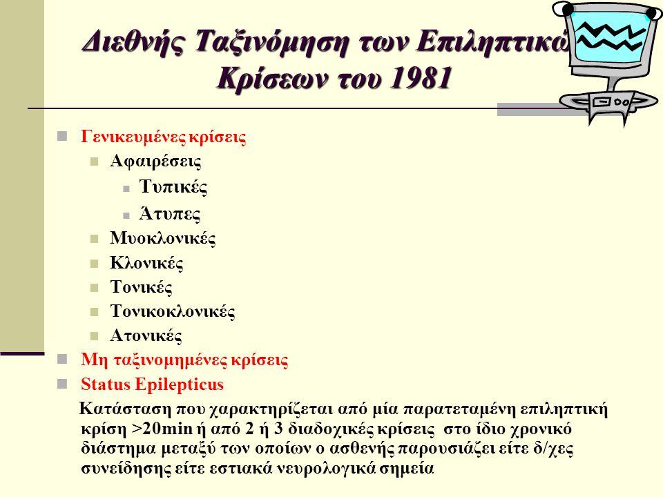 Διεθνής Ταξινόμηση των Επιληπτικών Κρίσεων του 1981 Εστιακές Κρίσεις Εστιακές απλές (ΕΑ) (χωρίς δ/χη συνείδησης) Με κινητικά φαινόμενα Με σωματοαισθητικά ή αισθητηριακά φαινόμενα Με φαινόμενα από το αυτόνομο ΝΣ Με ψυχικά φαινόμενα Εστιακές σύνθετες (ΕΣ) (με δ/χη συνείδησης) Έναρξη ως εστιακή απλή ακολουθούμενη με δ/χη της συνείδησης +/- αυτοματισμούς Με δ/χη της συνείδησης από την αρχή +/- αυτοματισμούς Εστιακές δευτερογενώς γενικευμένες ΕΑ δευτερογενώς γενικευμένες ΕΣ δευτερογενώς γενικευμένες ΕΑ που εξελίσσονται σε ΕΣ και εν συνεχεία γενικεύονται δευτερογενώς