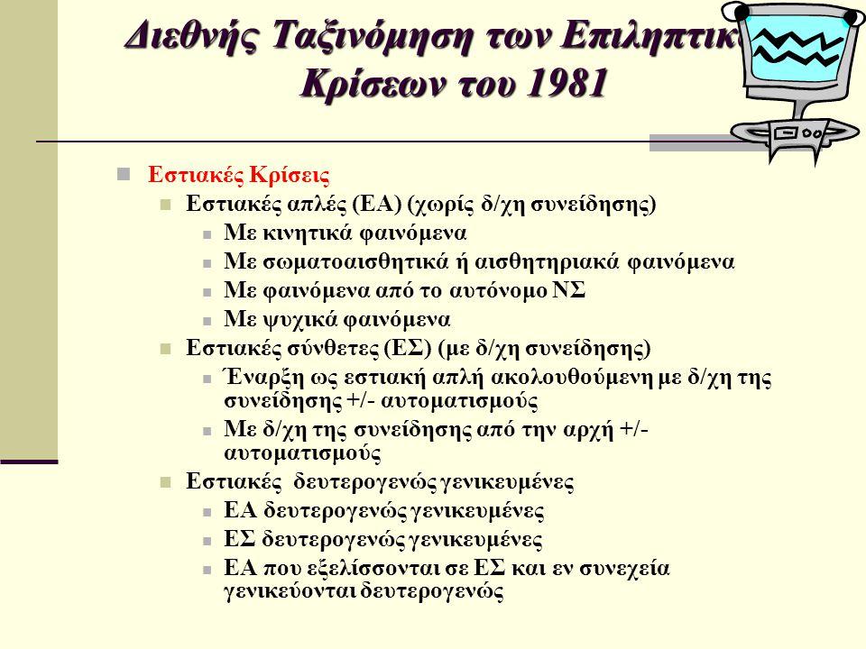 Διεθνής Ταξινόμηση των Επιληπτικών Κρίσεων του 1981 Εστιακές Κρίσεις Εστιακές απλές (ΕΑ) (χωρίς δ/χη συνείδησης) Με κινητικά φαινόμενα Με σωματοαισθητ