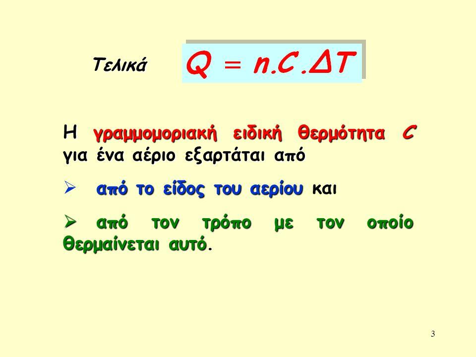 3 Τελικά Η γραμμομοριακή ειδική θερμότητα C για ένα αέριο εξαρτάται από από το είδος του αερίου  από το είδος του αερίου και  από τον τρόπο με τον ο
