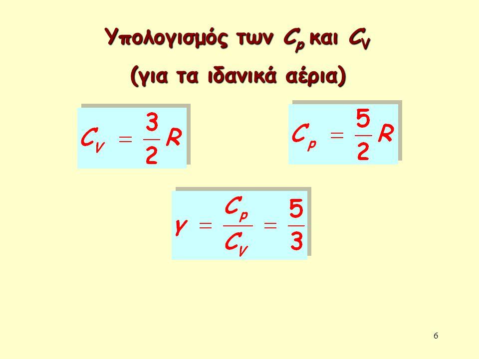 6 Υπολογισμός των C p και C V (για τα ιδανικά αέρια)