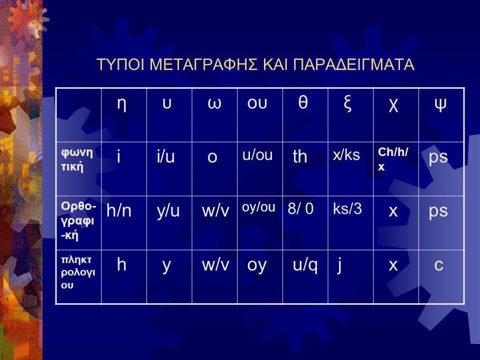 ΣΤΑΣΕΙΣ ΚΑΙ ΤΡΟΠΟΣ ΜΕΤΑΓΡΑΦΗΣ (2) Η απόπειρα της όσο το δυνατόν πληρέστερης οπτικής αναπαράστασης των ελληνικών ωθεί τους χρήστες σε μια αξιοσημείωτη ορθογραφική δημιουργικότητα, το γνωστότερο δείγμα της οποίας είναι η χρήση αριθμών για την απόδοση του και του.