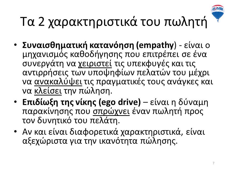 Τα 2 χαρακτηριστικά του πωλητή Συναισθηματική κατανόηση (empathy) - είναι ο μηχανισμός καθοδήγησης που επιτρέπει σε ένα συνεργάτη να χειριστεί τις υπε