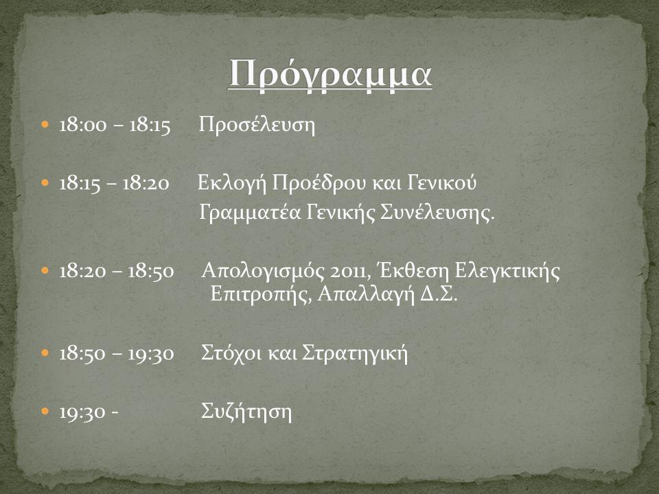 18:00 – 18:15 Προσέλευση 18:15 – 18:20 Εκλογή Προέδρου και Γενικού Γραμματέα Γενικής Συνέλευσης. 18:20 – 18:50 Απολογισμός 2011, Έκθεση Ελεγκτικής Επι