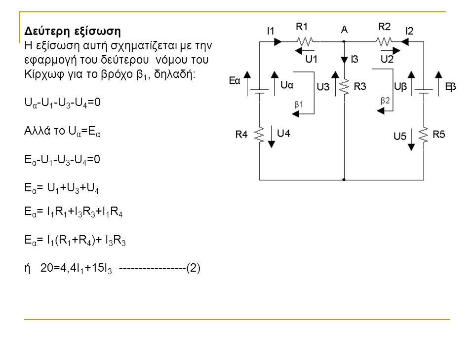 Δεύτερη εξίσωση Η εξίσωση αυτή σχηματίζεται με την εφαρμογή του δεύτερου νόμου του Κίρχωφ για το βρόχο β 1, δηλαδή: U α -U 1 -U 3 -U 4 =0 Αλλά το U α