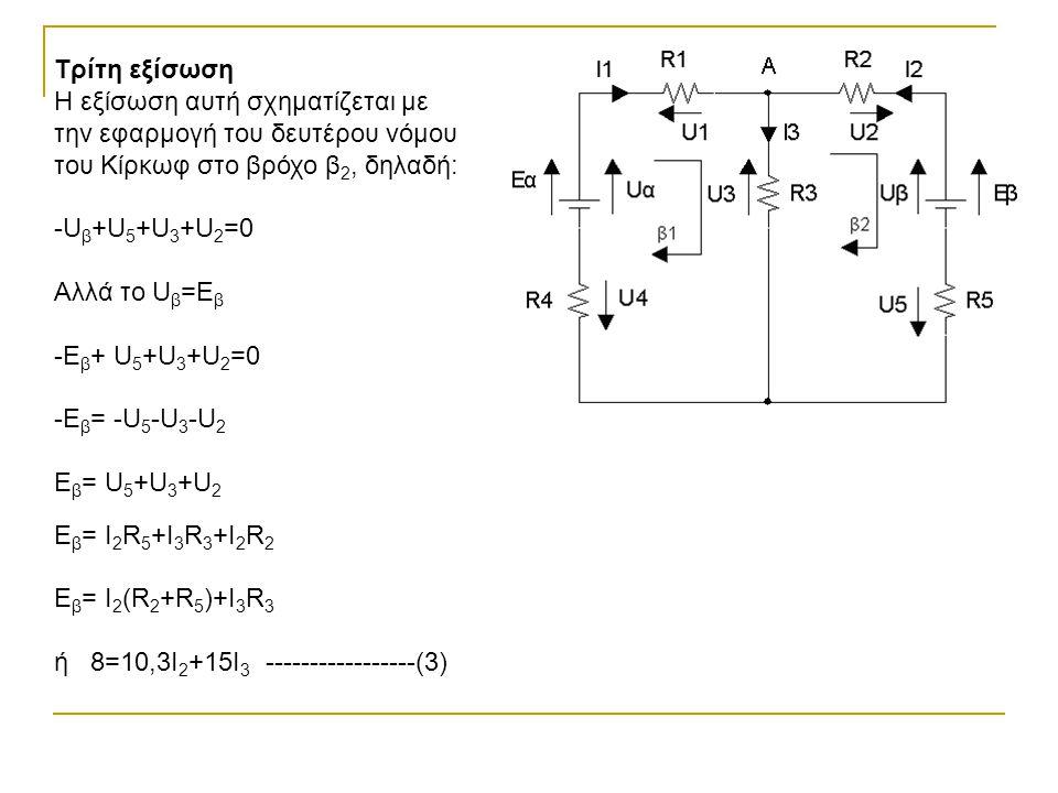 Τρίτη εξίσωση Η εξίσωση αυτή σχηματίζεται με την εφαρμογή του δευτέρου νόμου του Κίρκωφ στο βρόχο β 2, δηλαδή: -U β +U 5 +U 3 +U 2 =0 Αλλά το U β =Ε β