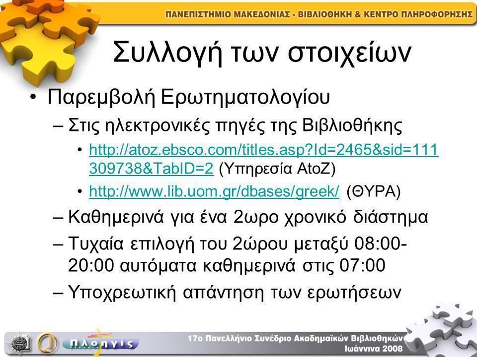 Συλλογή των στοιχείων Παρεμβολή Ερωτηματολογίου –Στις ηλεκτρονικές πηγές της Βιβλιοθήκης http://atoz.ebsco.com/titles.asp Id=2465&sid=111 309738&TabID=2 (Yπηρεσία AtoZ)http://atoz.ebsco.com/titles.asp Id=2465&sid=111 309738&TabID=2 http://www.lib.uom.gr/dbases/greek/ (ΘΥΡΑ)http://www.lib.uom.gr/dbases/greek/ –Καθημερινά για ένα 2ωρο χρονικό διάστημα –Τυχαία επιλογή του 2ώρου μεταξύ 08:00- 20:00 αυτόματα καθημερινά στις 07:00 –Υποχρεωτική απάντηση των ερωτήσεων