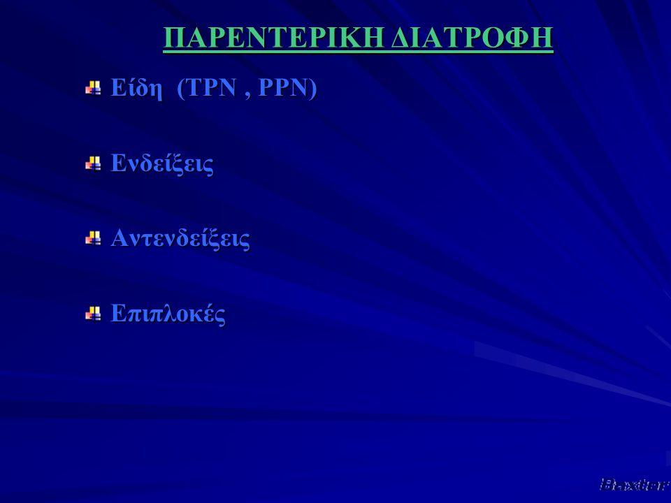 ΠΑΡΕΝΤΕΡΙΚΗ ΔΙΑΤΡΟΦΗ Είδη (TPN, PPN) ΕνδείξειςΑντενδείξειςΕπιπλοκές