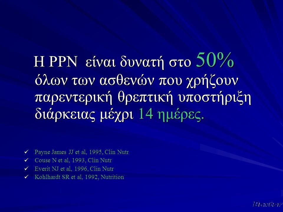 Η PPN είναι δυνατή στο 50% όλων των ασθενών που χρήζουν παρεντερική θρεπτική υποστήριξη διάρκειας μέχρι 14 ημέρες.
