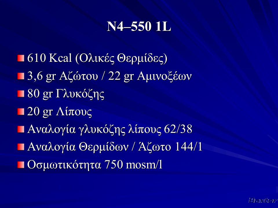 Ν4–550 1L 610 Κcal (Ολικές Θερμίδες) 3,6 gr Αζώτου / 22 gr Αμινοξέων 80 gr Γλυκόζης 20 gr Λίπους Αναλογία γλυκόζης λίπους 62/38 Αναλογία Θερμίδων / Άζωτο 144/1 Οσμωτικότητα 750 mosm/l