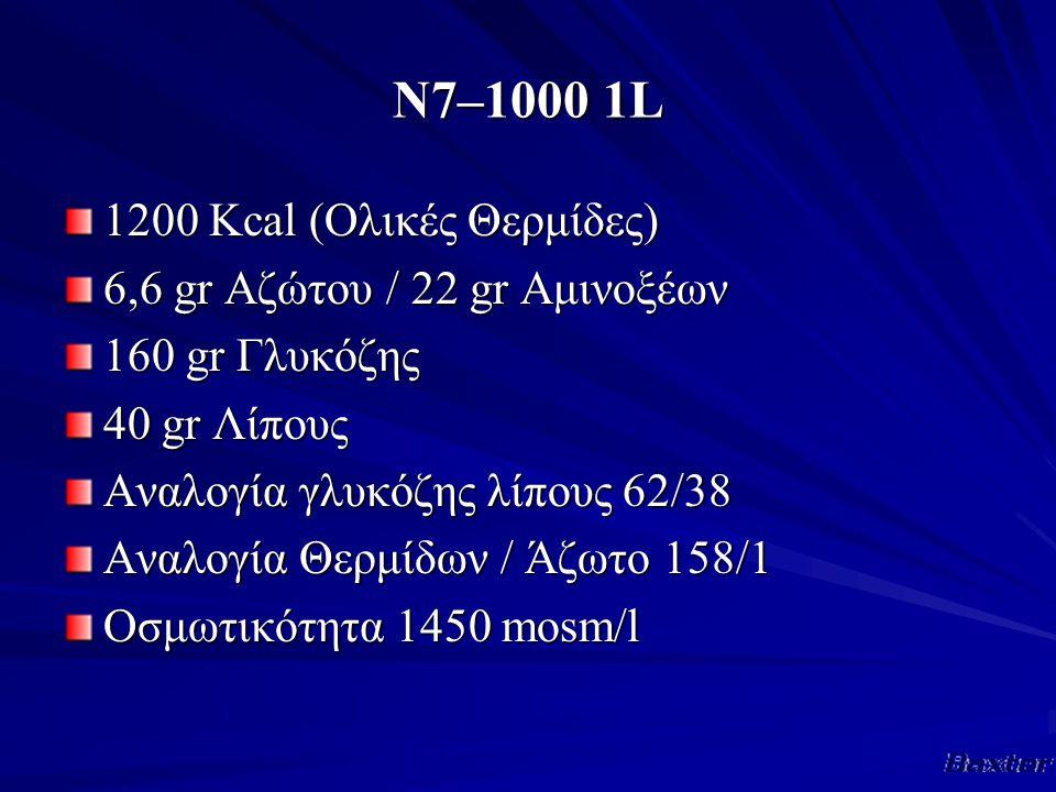 Ν7–1000 1L 1200 Κcal (Ολικές Θερμίδες) 6,6 gr Αζώτου / 22 gr Αμινοξέων 160 gr Γλυκόζης 40 gr Λίπους Αναλογία γλυκόζης λίπους 62/38 Αναλογία Θερμίδων / Άζωτο 158/1 Οσμωτικότητα 1450 mosm/l