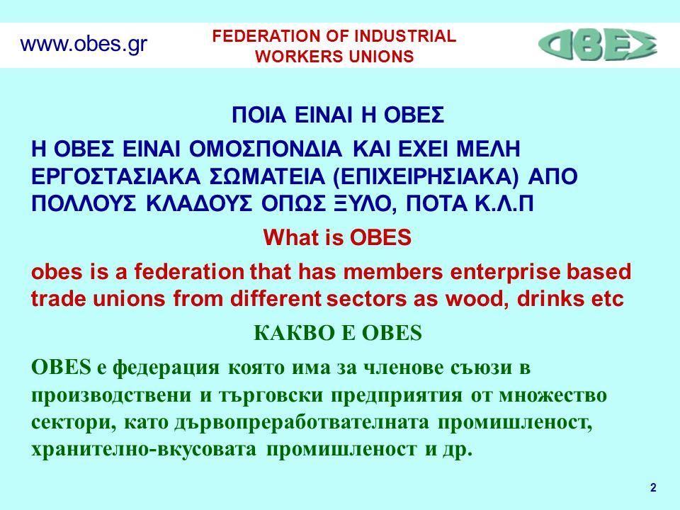 2 FEDERATION OF INDUSTRIAL WORKERS UNIONS www.obes.gr ΠΟΙΑ ΕΙΝΑΙ Η ΟΒΕΣ Η ΟΒΕΣ EINAI ΟΜΟΣΠΟΝΔΙΑ ΚΑΙ ΕΧΕΙ ΜΕΛΗ ΕΡΓΟΣΤΑΣΙΑΚΑ ΣΩΜΑΤΕΙΑ (ΕΠΙΧΕΙΡΗΣΙΑΚΑ) ΑΠΟ ΠΟΛΛΟΥΣ ΚΛΑΔΟΥΣ ΟΠΩΣ ΞΥΛΟ, ΠΟΤΑ Κ.Λ.Π What is OBES obes is a federation that has members enterprise based trade unions from different sectors as wood, drinks etc КАКВО Е OBES OBES е федерация която има за членове съюзи в производствени и търговски предприятия от множество сектори, като дървопреработвателната промишленост, хранително-вкусовата промишленост и др.