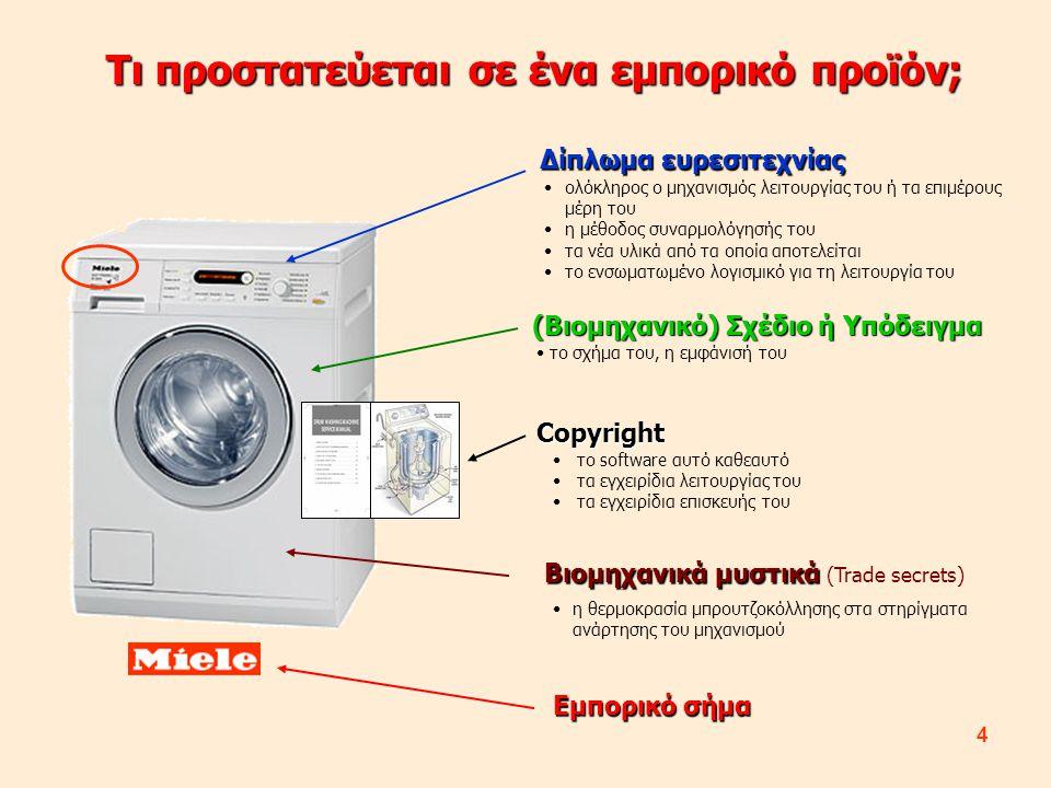 4 Τι προστατεύεται σε ένα εμπορικό προϊόν; Δίπλωμα ευρεσιτεχνίας (Βιομηχανικό) Σχέδιο ή Υπόδειγμα Copyright Εμπορικό σήμα Βιομηχανικά μυστικά Βιομηχαν
