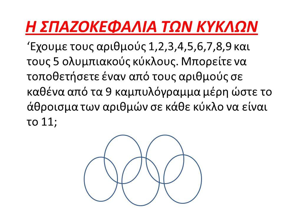 Η ΣΠΑΖΟΚΕΦΑΛΙΑ ΤΩΝ ΚΥΚΛΩΝ 'Εχουμε τους αριθμούς 1,2,3,4,5,6,7,8,9 και τους 5 ολυμπιακούς κύκλους. Μπορείτε να τοποθετήσετε έναν από τους αριθμούς σε κ