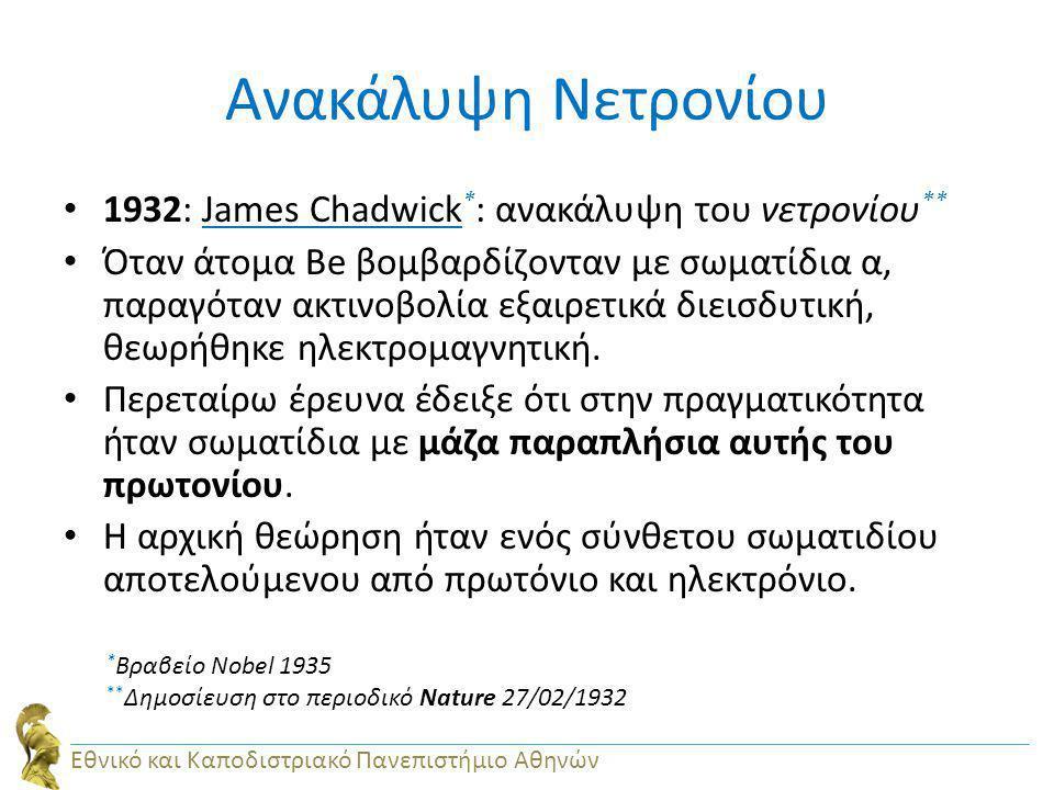 Ανακάλυψη Νετρονίου 1932: James Chadwick * : ανακάλυψη του νετρονίου ** Όταν άτομα Be βομβαρδίζονταν με σωματίδια α, παραγόταν ακτινοβολία εξαιρετικά