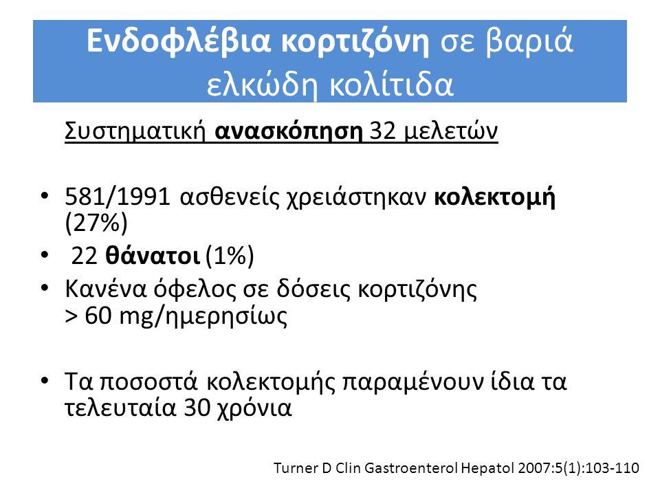 Ενδοφλέβια κορτιζόνη σε βαριά ελκώδη κολίτιδα Συστηματική ανασκόπηση 32 μελετών 581/1991 ασθενείς χρειάστηκαν κολεκτομή (27%) 22 θάνατοι (1%) Κανένα ό
