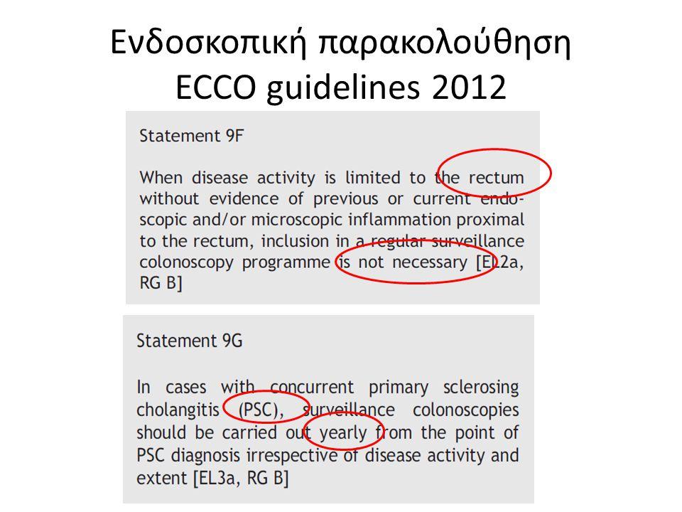 Ενδοσκοπική παρακολούθηση ECCO guidelines 2012