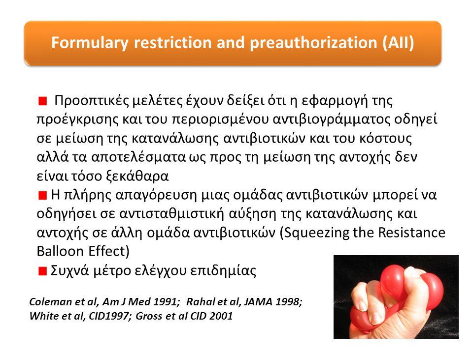 Formulary restriction and preauthorization (AII) Προοπτικές μελέτες έχουν δείξει ότι η εφαρμογή της προέγκρισης και του περιορισμένου αντιβιογράμματος