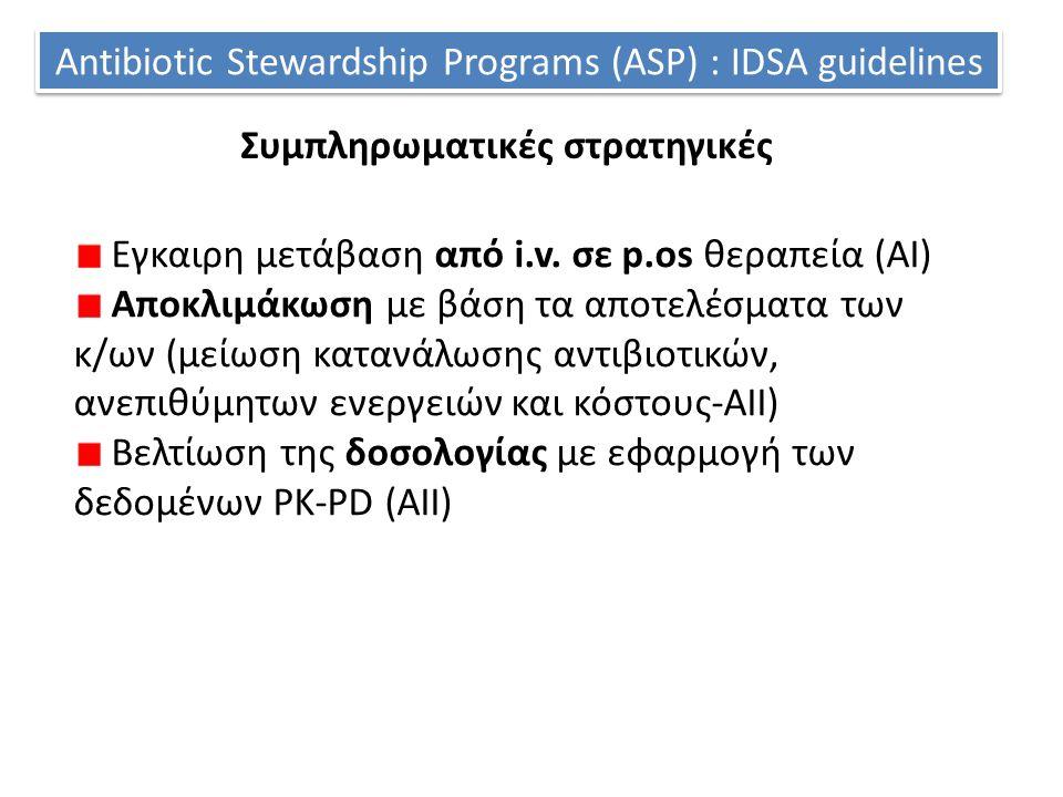 Antibiotic Stewardship Programs (ASP) : IDSA guidelines Εγκαιρη μετάβαση από i.v. σε p.os θεραπεία (ΑΙ) Αποκλιμάκωση με βάση τα αποτελέσματα των κ/ων