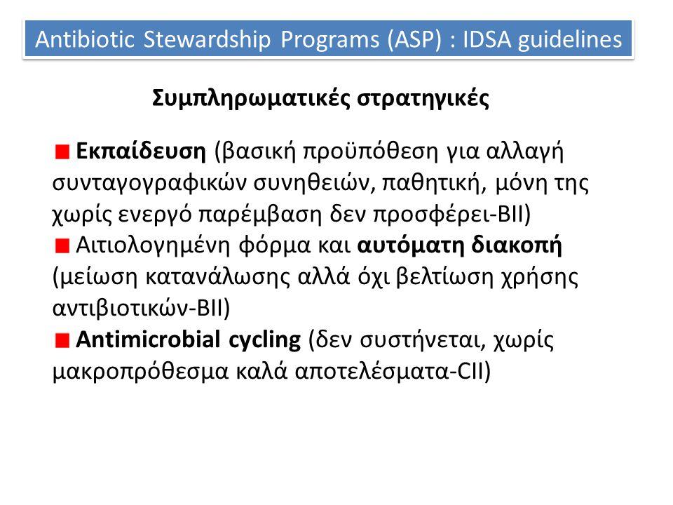 Antibiotic Stewardship Programs (ASP) : IDSA guidelines Συμπληρωματικές στρατηγικές Εκπαίδευση (βασική προϋπόθεση για αλλαγή συνταγογραφικών συνηθειών