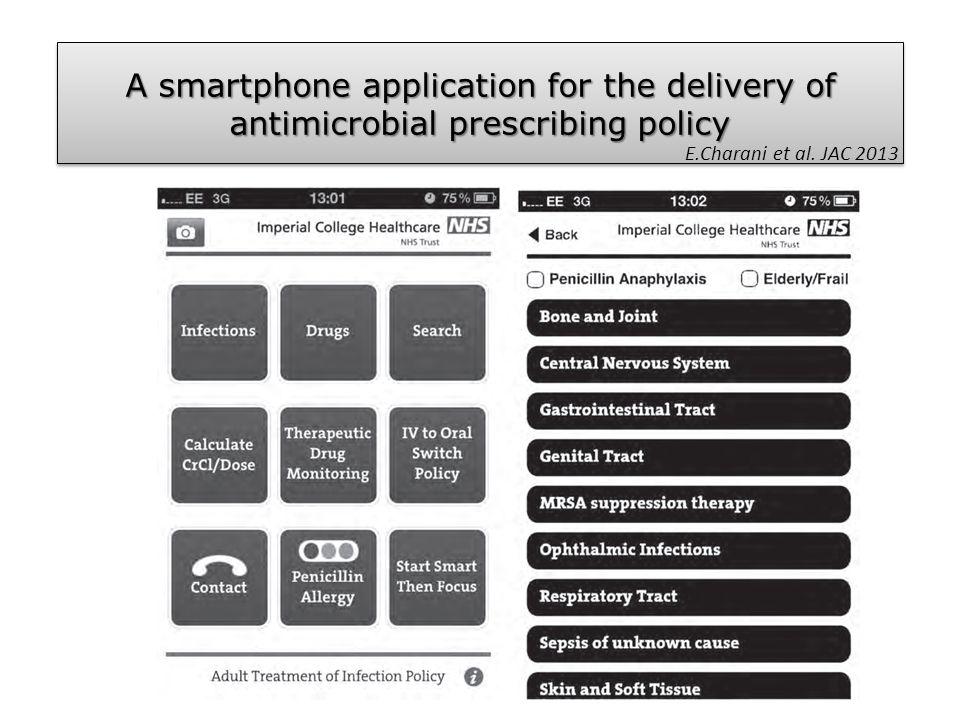 Α smartphone application for the delivery of antimicrobial prescribing policy E.Charani et al. JAC 2013