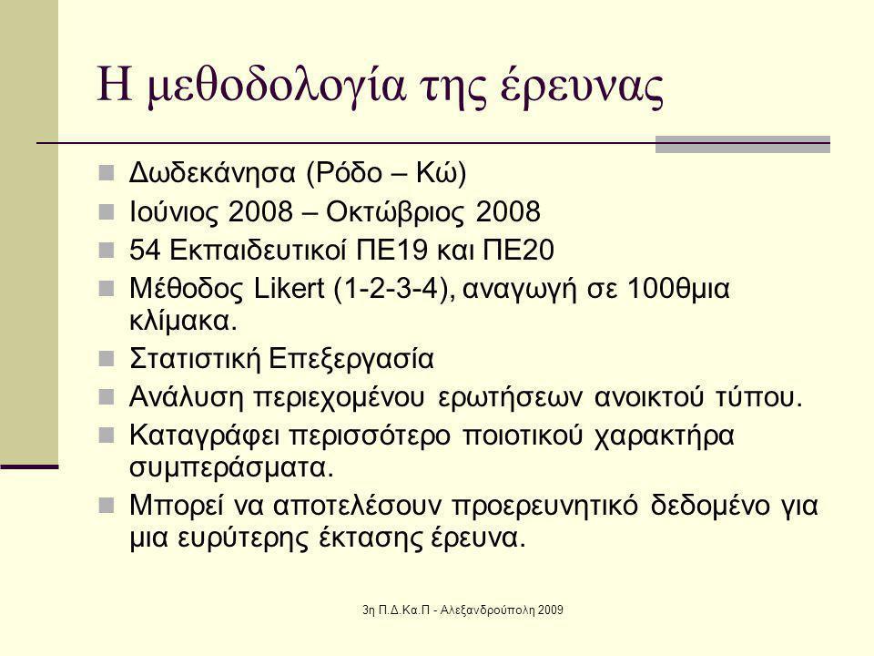 3η Π.Δ.Κα.Π - Αλεξανδρούπολη 2009 Η μεθοδολογία της έρευνας Δωδεκάνησα (Ρόδο – Κώ) Ιούνιος 2008 – Οκτώβριος 2008 54 Εκπαιδευτικοί ΠΕ19 και ΠΕ20 Μέθοδος Likert (1-2-3-4), αναγωγή σε 100θμια κλίμακα.