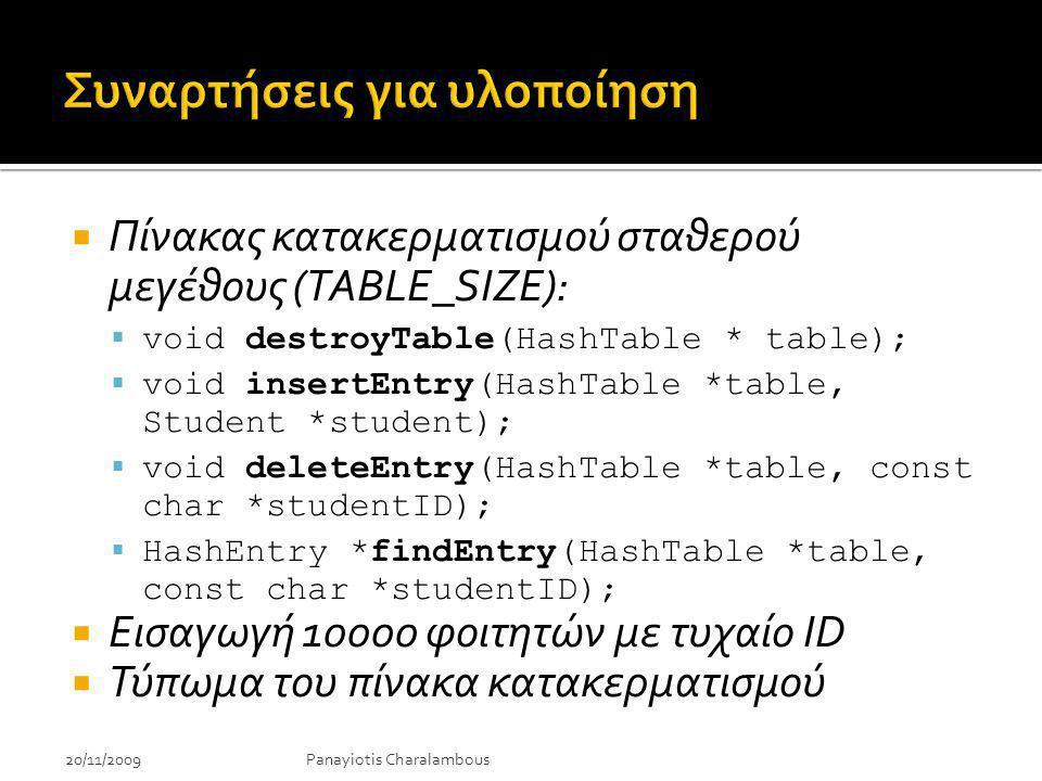 20/11/2009Panayiotis Charalambous  Πίνακας κατακερματισμού σταθερού μεγέθους (TABLE_SIZE):  void destroyTable(HashTable * table);  void insertEntry(HashTable *table, Student *student);  void deleteEntry(HashTable *table, const char *studentID);  HashEntry *findEntry(HashTable *table, const char *studentID);  Εισαγωγή 10000 φοιτητών με τυχαίο ID  Τύπωμα του πίνακα κατακερματισμού