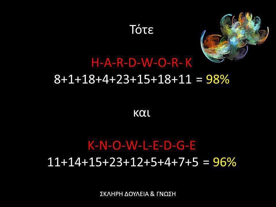 Τότε H-A-R-D-W-O-R- K 8+1+18+4+23+15+18+11 = 98% και K-N-O-W-L-E-D-G-E 11+14+15+23+12+5+4+7+5 = 96% ΣΚΛΗΡΗ ΔΟΥΛΕΙΑ & ΓΝΩΣΗ