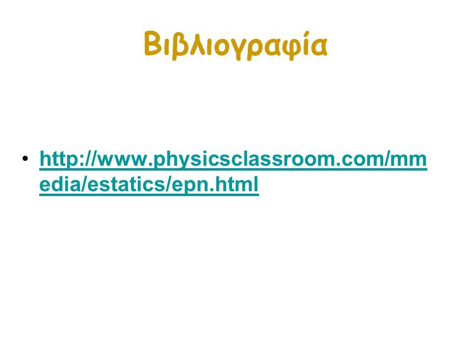 Βιβλιογραφία http://www.physicsclassroom.com/mm edia/estatics/epn.htmlhttp://www.physicsclassroom.com/mm edia/estatics/epn.html