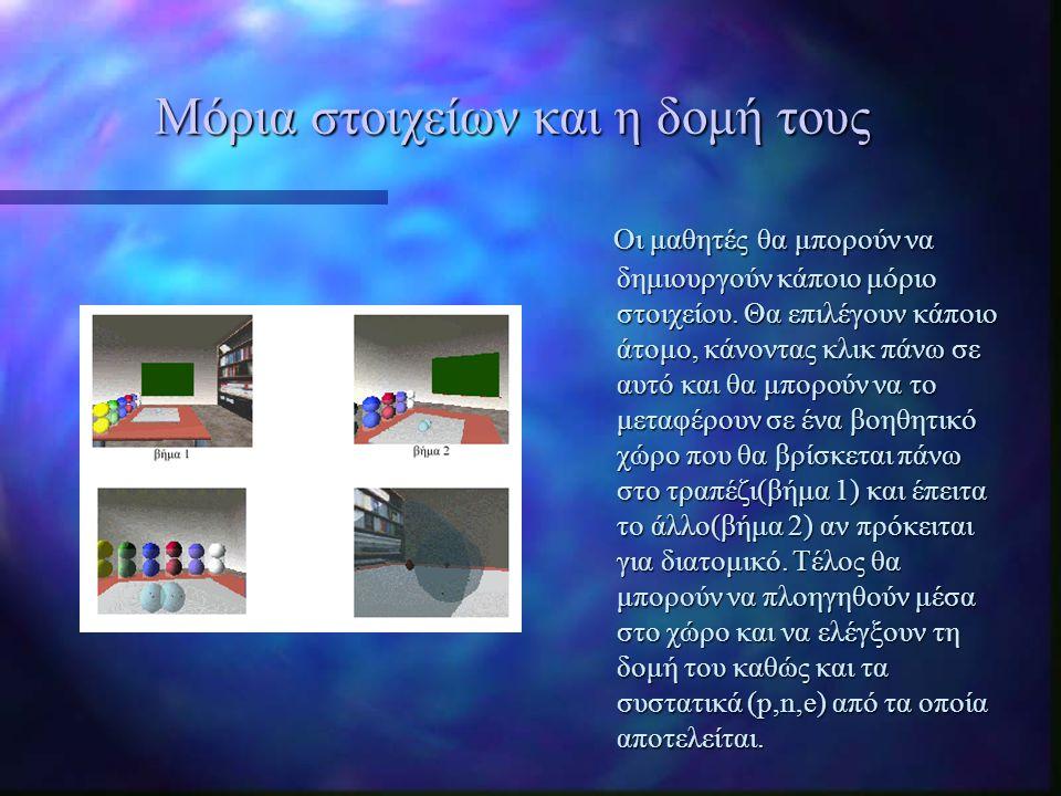 Μόρια στοιχείων και η δομή τους Οι μαθητές θα μπορούν να δημιουργούν κάποιο μόριο στοιχείου. Θα επιλέγουν κάποιο άτομο, κάνοντας κλικ πάνω σε αυτό και