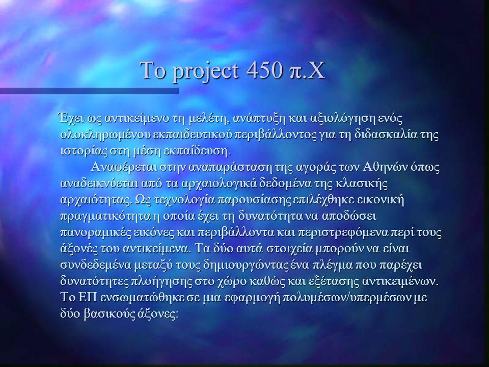 Το project 450 π.Χ Έχει ως αντικείμενο τη μελέτη, ανάπτυξη και αξιολόγηση ενός ολοκληρωμένου εκπαιδευτικού περιβάλλοντος για τη διδασκαλία της ιστορία