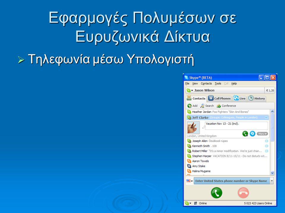 Εφαρμογές Πολυμέσων σε Ευρυζωνικά Δίκτυα  Τηλεφωνία μέσω Υπολογιστή