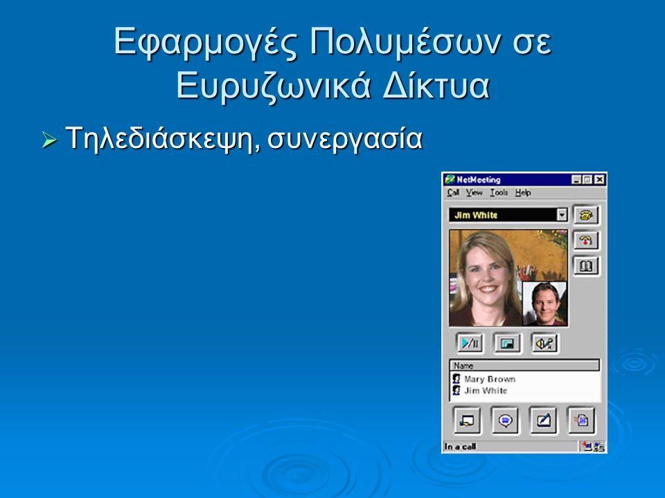 Εφαρμογές Πολυμέσων σε Ευρυζωνικά Δίκτυα  Τηλεδιάσκεψη, συνεργασία