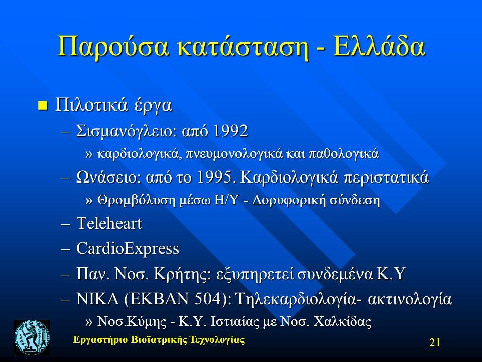 Εργαστήριο Βιοϊατρικής Τεχνολογίας 21 Παρούσα κατάσταση - Ελλάδα n Πιλοτικά έργα –Σισμανόγλειο: από 1992 »καρδιολογικά, πνευμονολογικά και παθολογικά