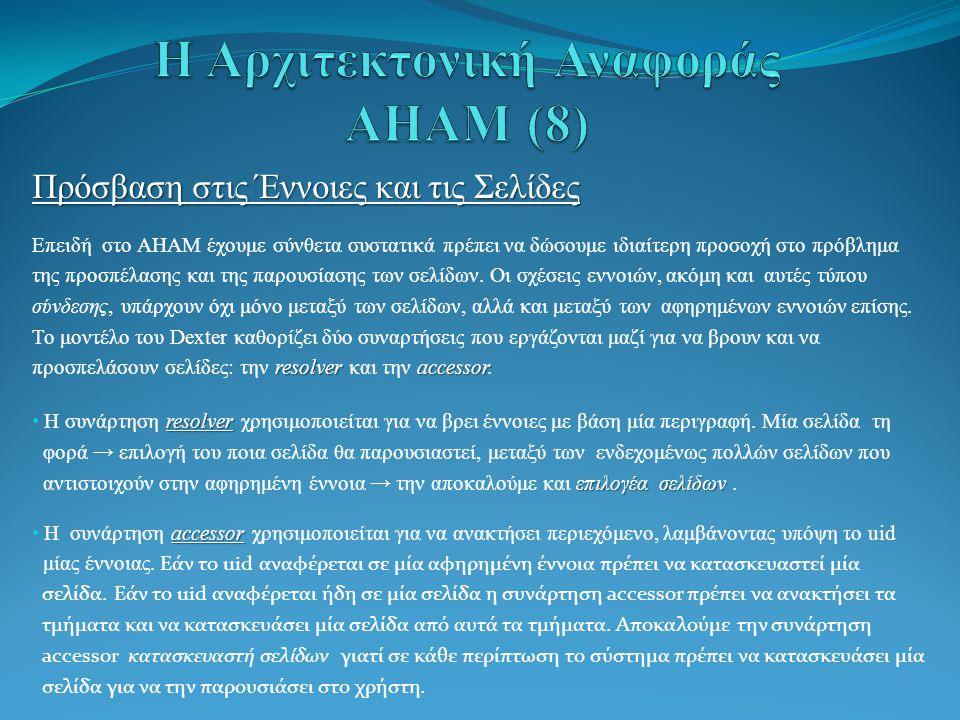 Πρόσβαση στις Έννοιες και τις Σελίδες Επειδή στο AHAM έχουμε σύνθετα συστατικά πρέπει να δώσουμε ιδιαίτερη προσοχή στο πρόβλημα της προσπέλασης και της παρουσίασης των σελίδων.