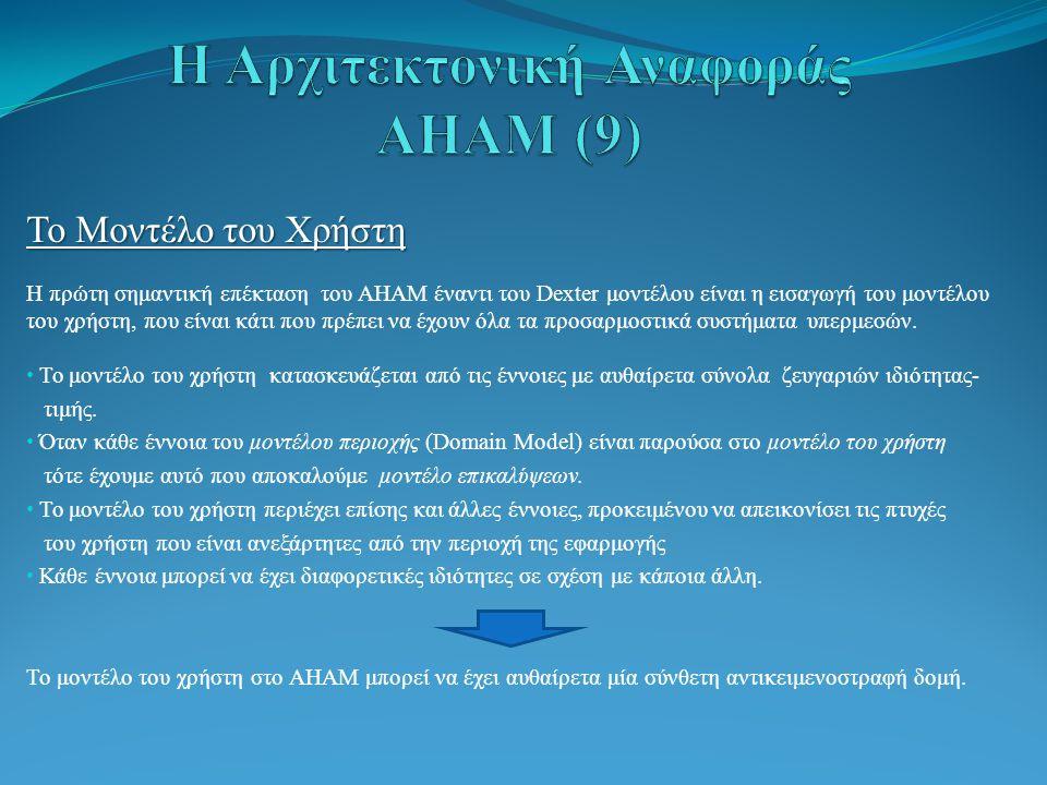 Το Μοντέλο του Χρήστη Η πρώτη σημαντική επέκταση του AHAM έναντι του Dexter μοντέλου είναι η εισαγωγή του μοντέλου του χρήστη, που είναι κάτι που πρέπει να έχουν όλα τα προσαρμοστικά συστήματα υπερμεσών.