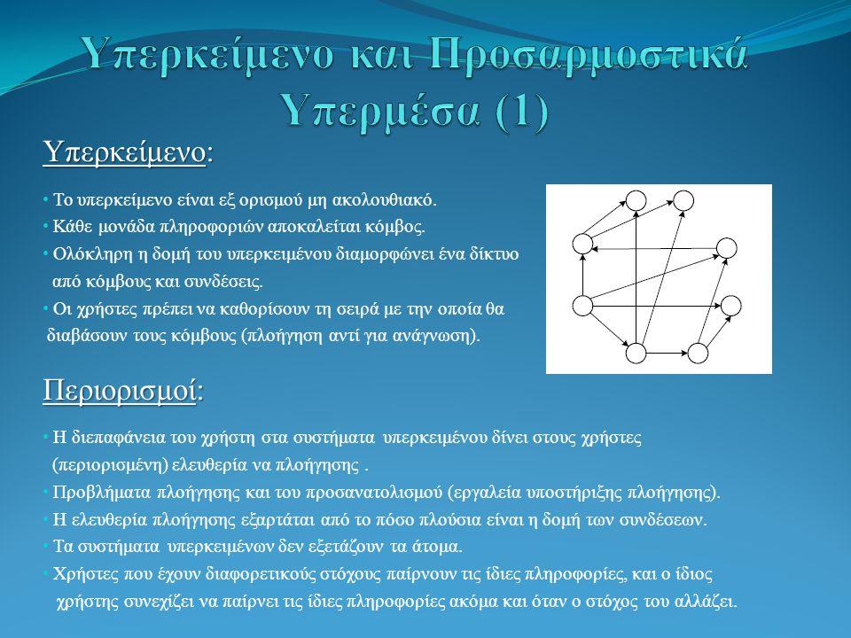 Νέος ορισμός: Νέος ορισμός: Θεωρούμε ότι η δομή των πληροφοριών ενός υπερκειμένου αποτελείται από δύο τύπους στοιχείων: ένα σύνολο εννοιών (concepts) → μία σελίδα, μία σύνθετη έννοια ένα σύνολο σχέσεων εννοιών (concept relationships) → συνδέει μία σειρά εννοιών.