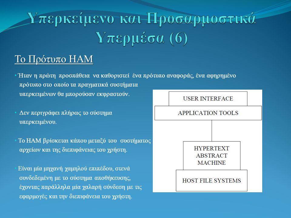 Το Πρότυπο HAM Ήταν η πρώτη προσπάθεια να καθοριστεί ένα πρότυπο αναφοράς, ένα αφηρημένο πρότυπο στο οποίο τα πραγματικά συστήματα υπερκειμένων θα μπορούσαν εκφραστούν.