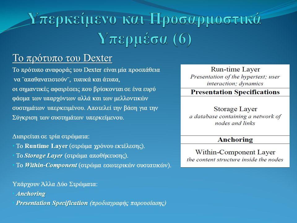 Το πρότυπο του Dexter Το πρότυπο αναφοράς του Dexter είναι μία προσπάθεια να ¨απαθανατιστούν¨, τυπικά και άτυπα, οι σημαντικές αφαιρέσεις που βρίσκονται σε ένα ευρύ φάσμα των υπαρχόντων αλλά και των μελλοντικών συστημάτων υπερκειμένου.