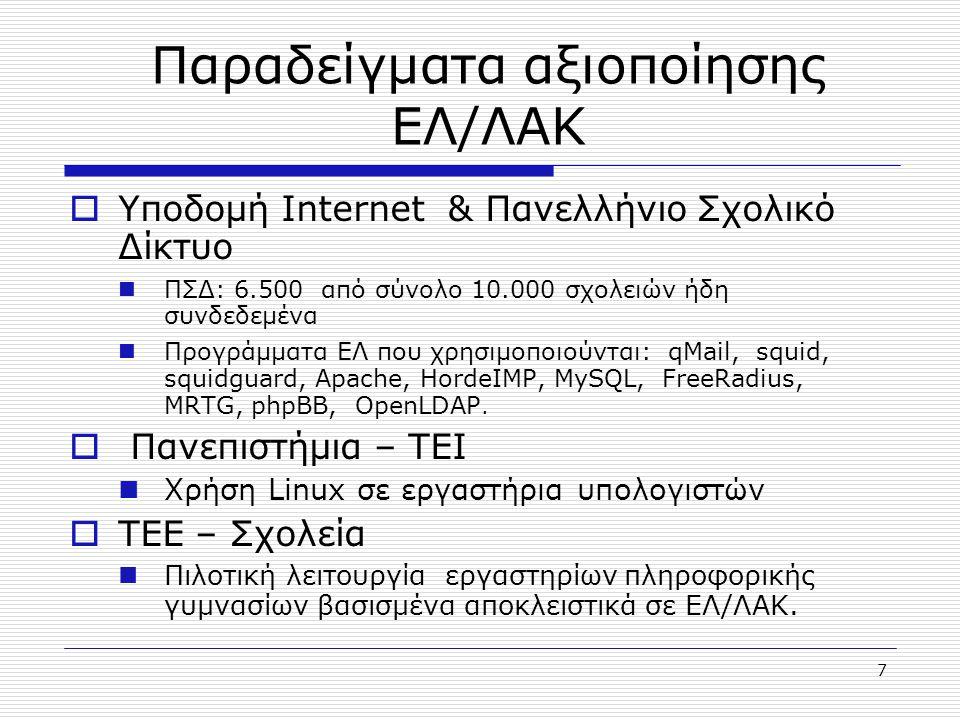 8 Προοπτικές αξιοποίησης ΕΛ/ΛΑΚ στη χώρα  Υψηλή η δυναμική διείσδυσης του ΕΛ/ΛΑΚ : Ανάγκη για ανοιχτές, αξιόπιστες, διαλειτουργικές και χαμηλού κόστους υποδομές και συστήματα πληροφορικής  Αύξηση της προσφοράς των λύσεων βασισμένων σε ΕΛ/ΛΑΚ από Ελληνικές εταιρίες  Υποστήριξη ανάπτυξης ΕΛ/ΛΑΚ από την τοπική και διεθνή κοινότητα Ενσωμάτωση κατευθύνσεων eEurope για τη διαλειτουργικότητα των συστημάτων με την υιοθέτηση ανοιχτών προτύπων, εργαλείων και αρχιτεκτονικής  Για την διάχυση και ανάπτυξη του ΕΛ/ΛΑΚ αναπτύχθηκαν, συντηρούνται, και διαρκώς ανανεώνονται οι παρακάτω δικτυακοί τόποι: http://www.open-source.gr δικτυακός τόπος ενημέρωσης του ευρύτερου κοινού για τα πλεονεκτήματα του ΕΛ/ΛΑΚ καθώς και τις δραστηριότητες της εταιρίας.
